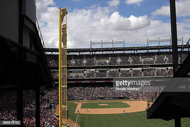 A general view of play between the Detroit Tigers and the Texas Rangers at Globe Life Park in Arlington on August 14 2016 in Arlington Texas
