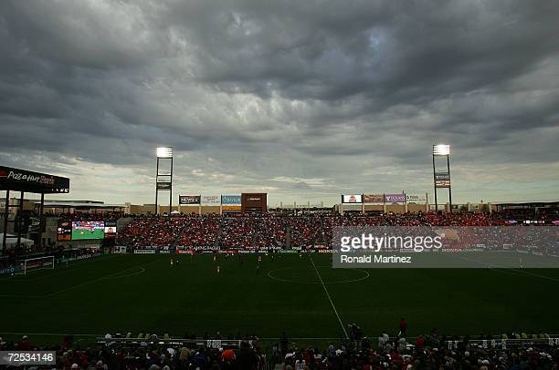 A general view of play between the Houston Dynamo and the New England Revolution with gray clouds overhead during the 2006 MLS Cup at Pizza Hut Park...
