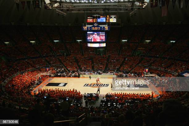 A general view of play between the Illinois Fighting Illini and the Purdue Boilermakers on January 28 2006 at the Assembly Hall at the University of...