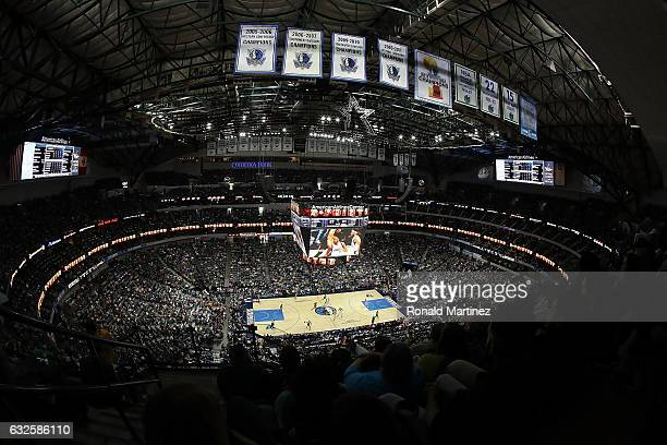 A general view of play between the Los Angeles Lakers and the Dallas Mavericks at American Airlines Center on January 22 2017 in Dallas Texas NOTE TO...