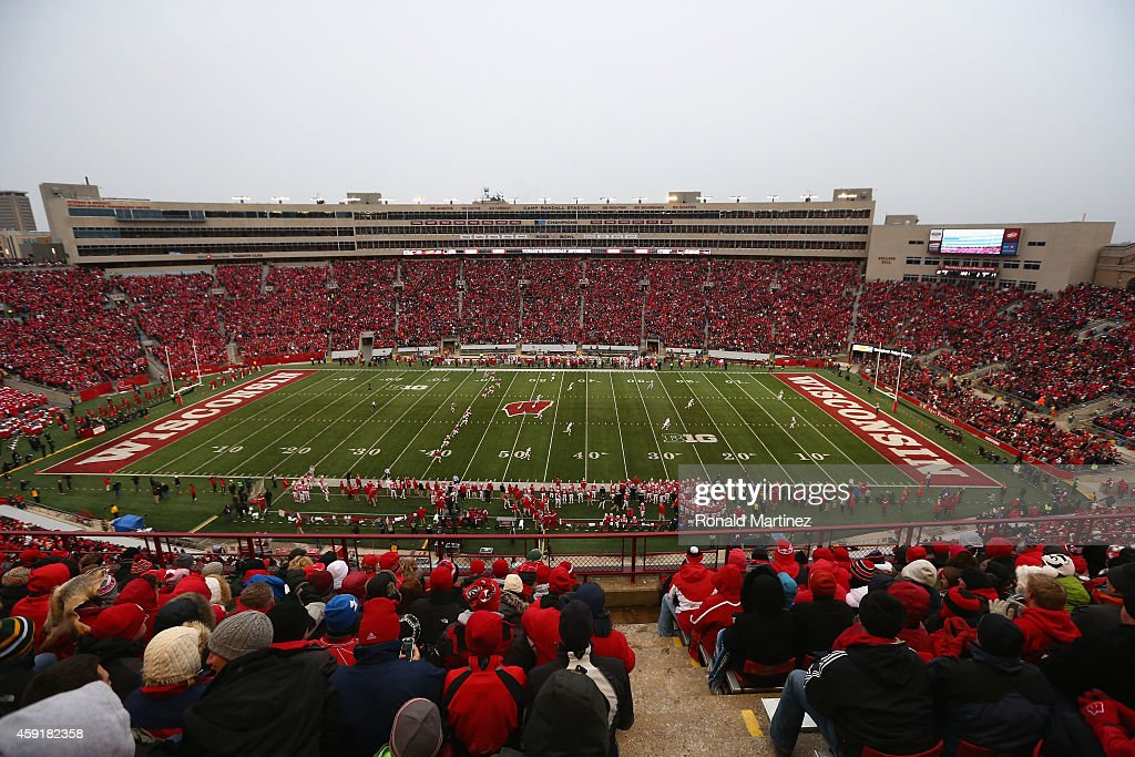 A general view of play between the Nebraska Cornhuskers and the Wisconsin Badgers at Camp Randall Stadium on November 15, 2014 in Madison, Wisconsin.