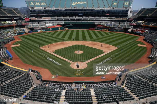 General view of play between the Oakland Athletics and the Texas Rangers at Oakland-Alameda County Coliseum on August 06, 2020 in Oakland, California.