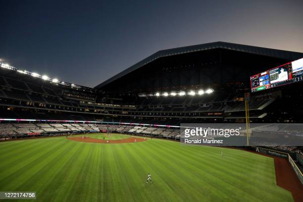 General view of play between the Oakland Athletics and the Texas Rangers at Globe Life Field on September 12, 2020 in Arlington, Texas.