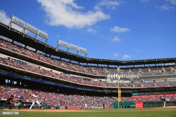 A general view of play between the Oakland Athletics and the Texas Rangers at Globe Life Park in Arlington on April 9 2017 in Arlington Texas