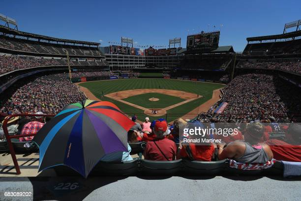 A general view of play between the Oakland Athletics and the Texas Rangers at Globe Life Park in Arlington on May 14 2017 in Arlington Texas