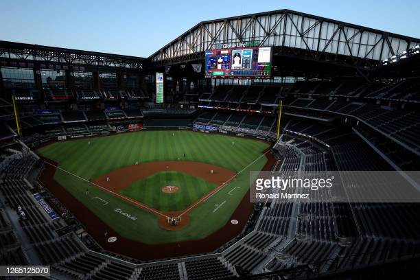 General view of play between the Seattle Mariners and the Texas Rangers at Globe Life Field on August 10, 2020 in Arlington, Texas.