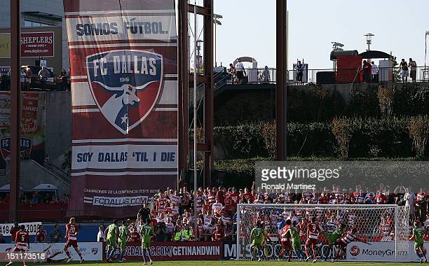 General view of play between the Seattle Sounders FC and the FC Dallas at FC Dallas Stadium on September 2, 2012 in Frisco, Texas.