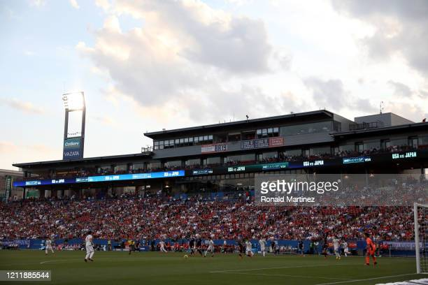General view of play between the United States and Japan during the first half of the 2020 SheBelieves Cup at Toyota Stadium on March 11, 2020 in...