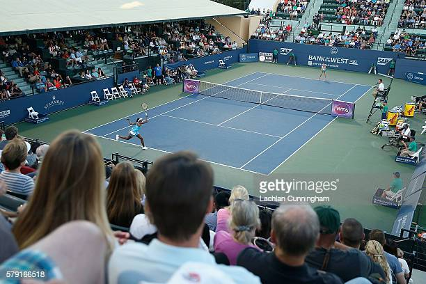 A general view of play between Venus Williams of the United States and Catherine Bellis of the United States during day five of the Bank of the West...