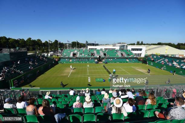 General view of play betwen Frances Tiafore of United States and Marius Copil of Romania during the men's semi-finals match on day eight of the...