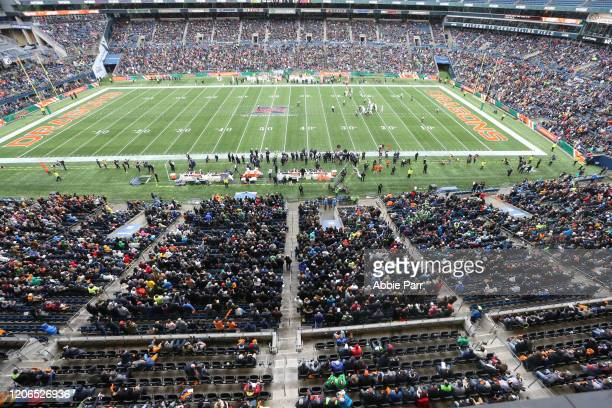 A general view of play during a game between the Seattle Dragons and Tampa Bay Vipers at CenturyLink Field on February 15 2020 in Seattle Washington