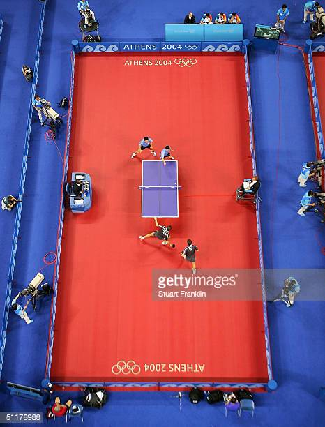 A general view of play during a men's doubles table tennis match on August 16 2004 during the Athens 2004 Summer Olympic Games at Galatsi Olympic...