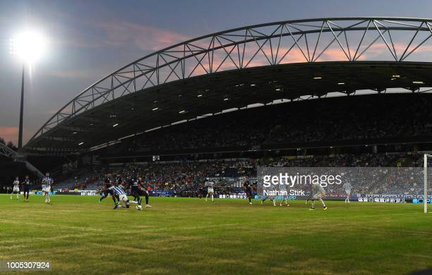 General view of play during a preseason friendly match between Huddersfield Town and Olympique Lyonnais at John Smith's Stadium on July 25 2018 in...