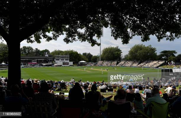 General view of play during day 2 of the second Test match between New Zealand and England at Seddon Park on November 30, 2019 in Hamilton, New...