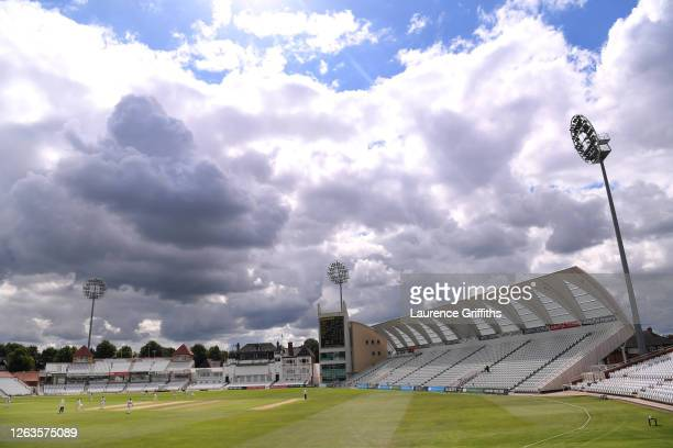 General view of play during Day 3 of the Bob Willis Trophy match between Nottinghamshire and Derbyshire at Trent Bridge on August 01, 2020 in...