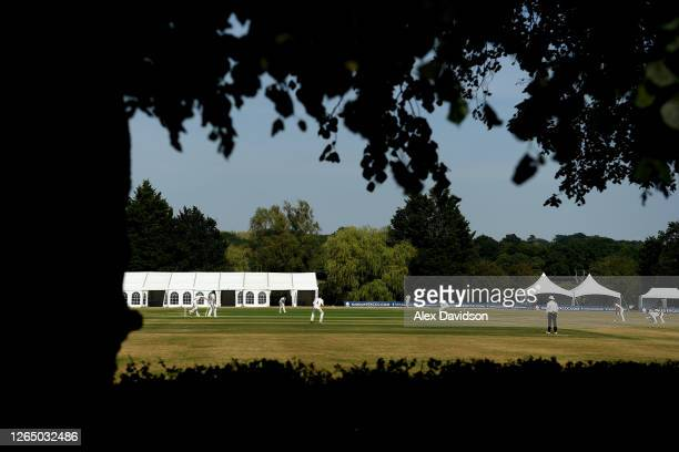 General view of play during Day 3 of The Bob Willis Trophy match between Middlesex and Hampshire at Radlett Cricket Club on August 10, 2020 in...
