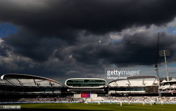 General view of play during Day 5 of the First LV= Insurance Test Match between England and New Zealand at Lord's Cricket Ground on June 06, 2021 in...