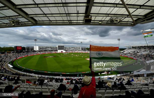 General view of play during Day 5 of the ICC World Test Championship Final between India and New Zealand at The Ageas Bowl on June 22, 2021 in...