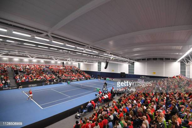 General view of play during Day Four of the Fed Cup Europe and Africa Zone Group I at the University of Bath on February 09 2019 in Bath England
