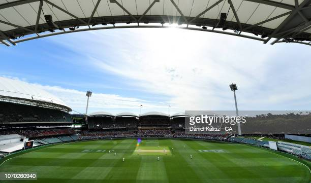 A general view of play during day four of the First Test match in the series between Australia and India at Adelaide Oval on December 9 2018 in...