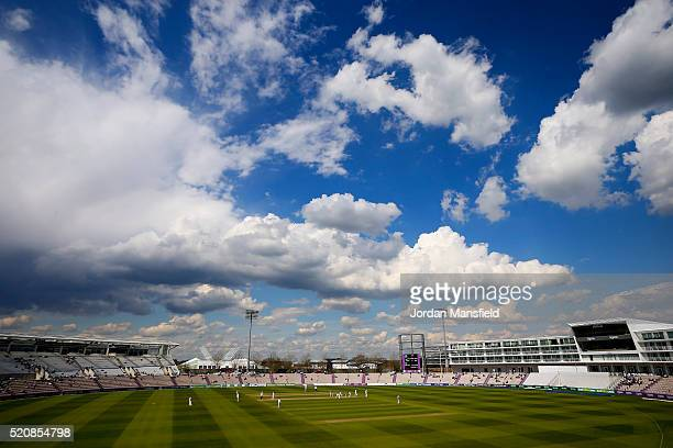 A general view of play during day four of the Specsavers County Championship Division One match between Hampshire and Warwickshire at the Ageas Bowl...