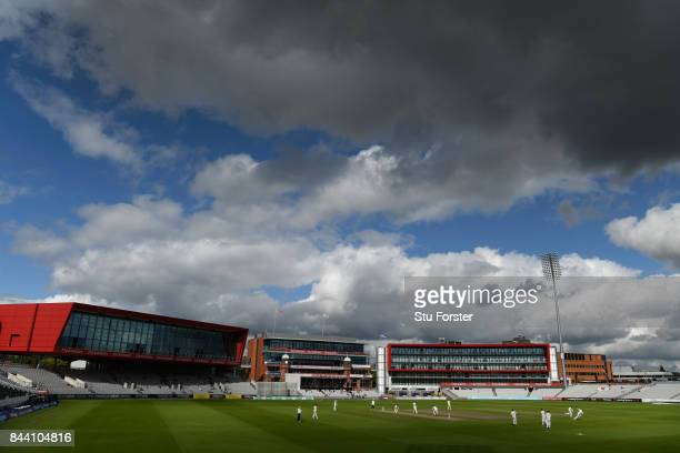 A general view of play during day four of the Specsavers County Championship Division One match between Lancashire and Essex at Old Trafford on...