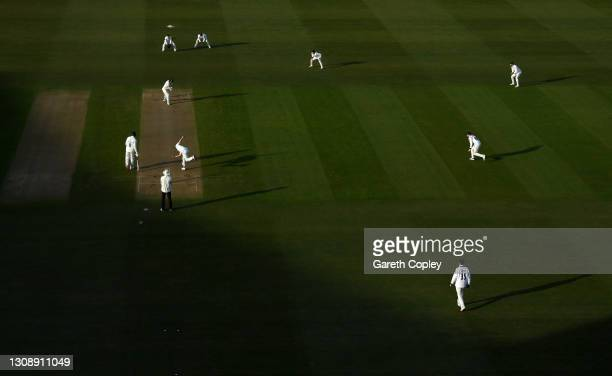 General view of play during day one of a pre-season warm up match between Warwickshire and Durham at Edgbaston on March 24, 2021 in Birmingham,...