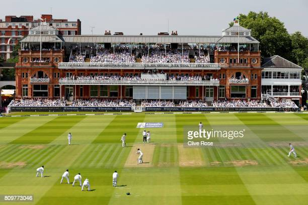 A general view of play during day one of the 1st Investec Test match between England and South Africa at Lord's Cricket Ground on July 6 2017 in...