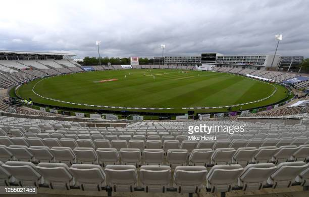 General view of play during day one of the 1st #RaiseTheBat Test match at The Ageas Bowl on July 08, 2020 in Southampton, England.