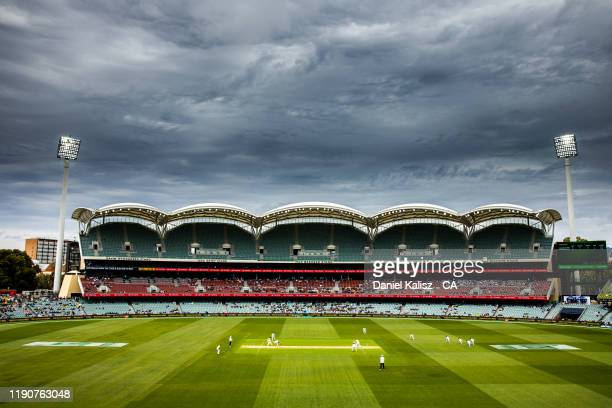 General view of play during day one of the 2nd Domain Test between Australia and Pakistan at Adelaide Oval on November 29, 2019 in Adelaide,...
