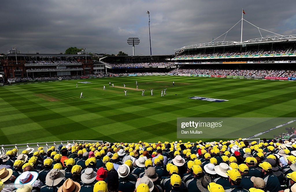 A general view of play during day one of the 2nd Investec Ashes Test match between England and Australia at Lord's Cricket Ground on July 16, 2015 in London, United Kingdom.