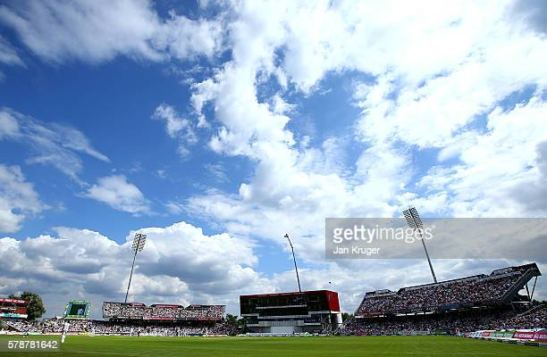 General view of play during day one of the 2nd Investec Test match between England and Pakistan at Old Trafford on July 22 2016 in Manchester England