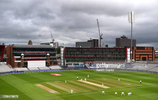 General view of play during Day One of the 2nd Test Match in the #RaiseTheBat Series between England and The West Indies at Emirates Old Trafford on...