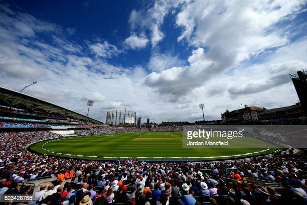 General view of play during day one of the 3rd Investec Test match between England and South Africa at The Kia Oval on July 27, 2017 in London,...