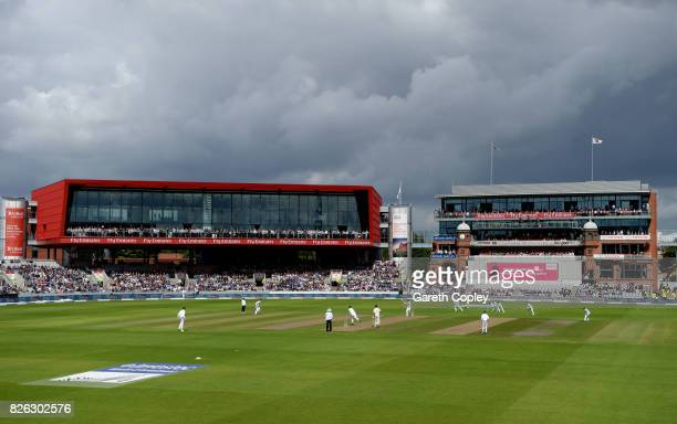 General view of play during day one of the 4th Investec Test between England and South Africa at Old Trafford on August 4 2017 in Manchester England