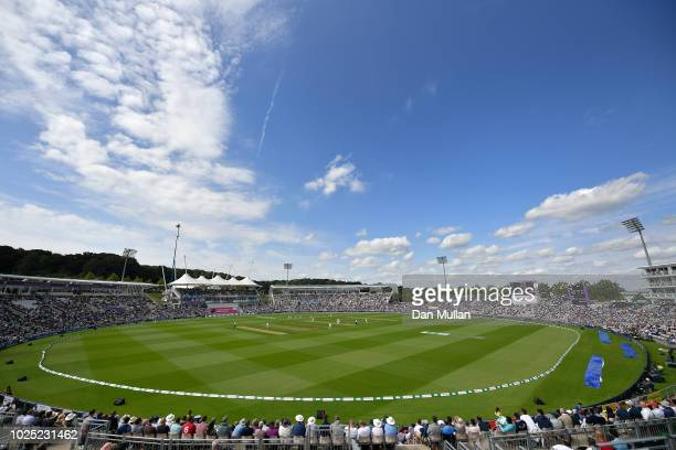 A general view of play during day one of the 4th Specsavers Test match between England and India at The Ageas Bowl on August 30 2018 in Southampton...