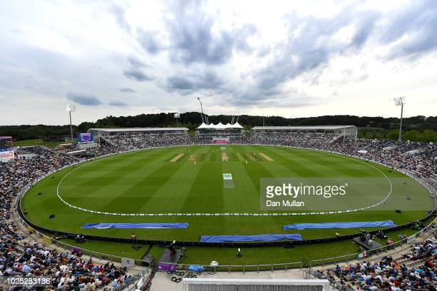 General view of play during day one of the 4th Specsavers Test match between England and India at The Ageas Bowl on August 30, 2018 in Southampton,...