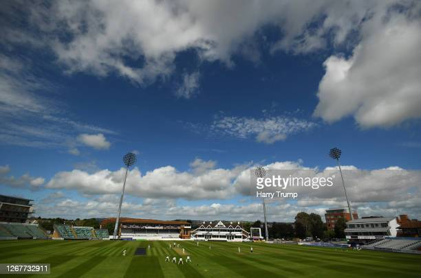 General view of play during Day One of the Bob Willis Trophy match between Somerset and Gloucestershire at The Cooper Associates County Ground on...