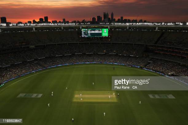 General view of play during day one of the First Test match between Australia and New Zealand at Optus Stadium on December 12, 2019 in Perth,...