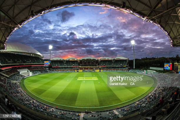 General view of play during day one of the First Test match between Australia and India at Adelaide Oval on December 17, 2020 in Adelaide, Australia.