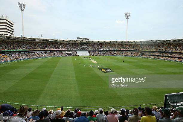 General view of play during day one of the First Test match between Australia and New Zealand at The Gabba on November 5 2015 in Brisbane Australia