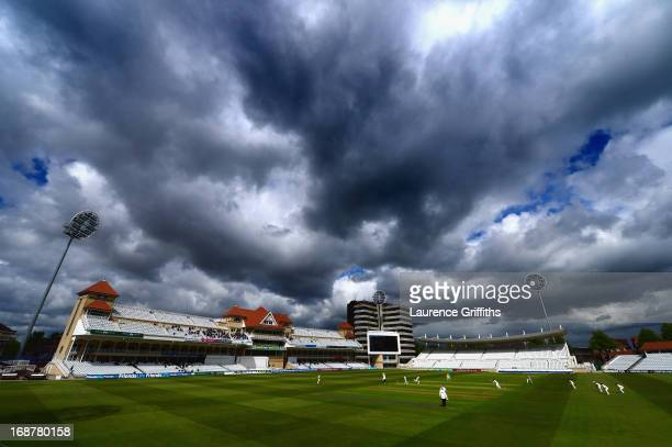 A general view of play during day one of the LV County Championship division one match between Nottinghamshire and Surrey at Trent Bridge on May 15...