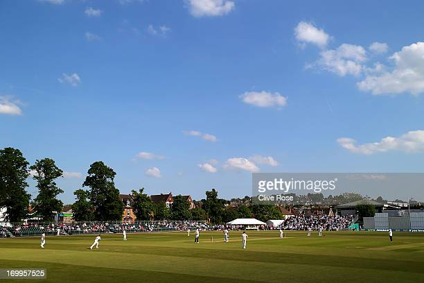 A general view of play during day one of the LV County Championship Division One match between Surrey and Warwickshire at Guildford Cricket Club on...