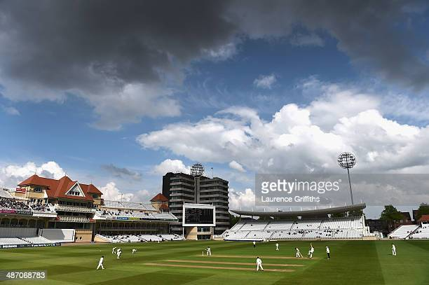 A general view of play during day one of the LV County Championship division one match between Nottinghamshire and Warwickshire at Trent Bridge on...