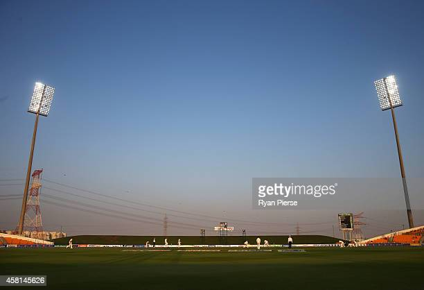 A general view of play during Day One of the Second Test between Pakistan and Australia at Sheikh Zayed Stadium on October 30 2014 in Abu Dhabi...