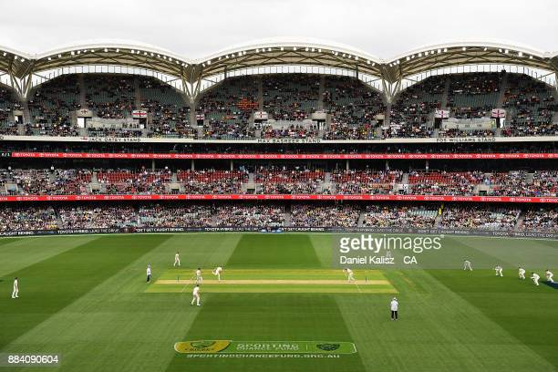 A general view of play during day one of the Second Test match during the 2017/18 Ashes Series between Australia and England at Adelaide Oval on...