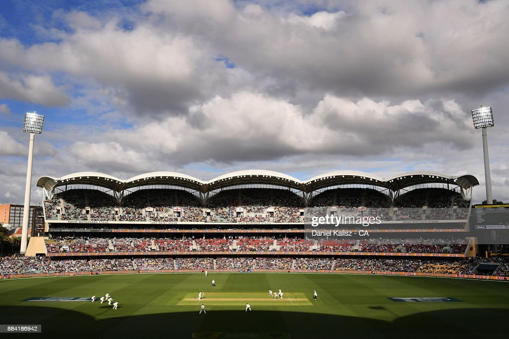 A general view of play during day one of the Second Test match during the 2017/18 Ashes Series between Australia and England at Adelaide Oval on December 2, 2017 in Adelaide, Australia.