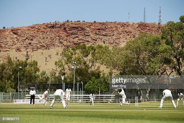 A general view of play during day one of the Sheffield Shield match between Victoria and New South Wales at Traeger Park on March 15 2016 in Alice...