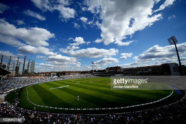 General view of play during day one of the Specsavers 5th Test match between England and India at The Kia Oval on September 7, 2018 in London,...