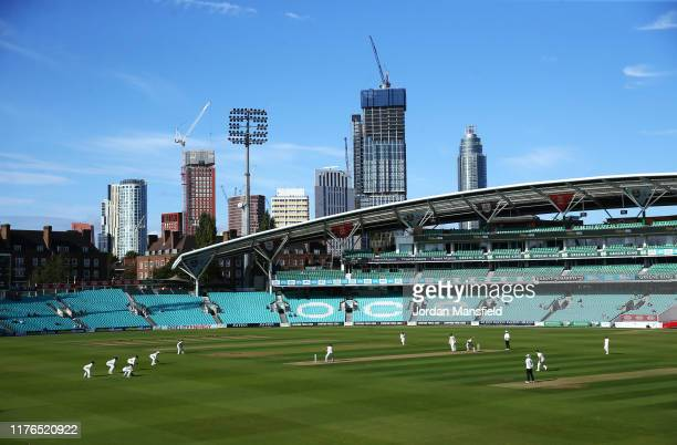 General view of play during Day One of the Specsavers County Championship Divsion One match between Surrey and Nottinghamshire at The Kia Oval on...